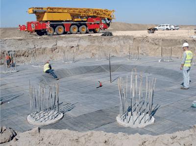 IRIDEX: Hidroizolarea fundatiilor pentru instalatii eoline cu membrana bentonitica VOLTEX