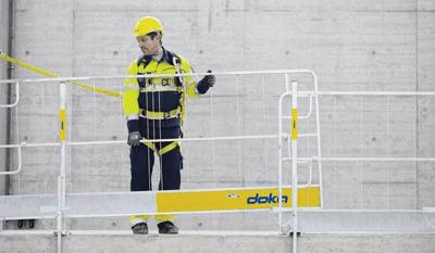 DOKA: Sistemul de protectie perimetrala XP. Balustrade de protectie pentru cofraje si constructii